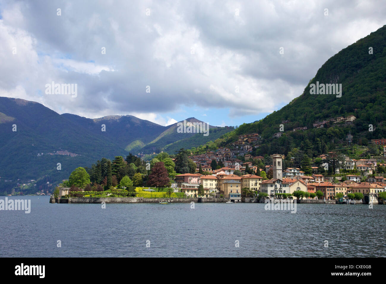 View of Torno in spring sunshine, Lake Como, Lombardy, Italian Lakes, Italy, Europe - Stock Image
