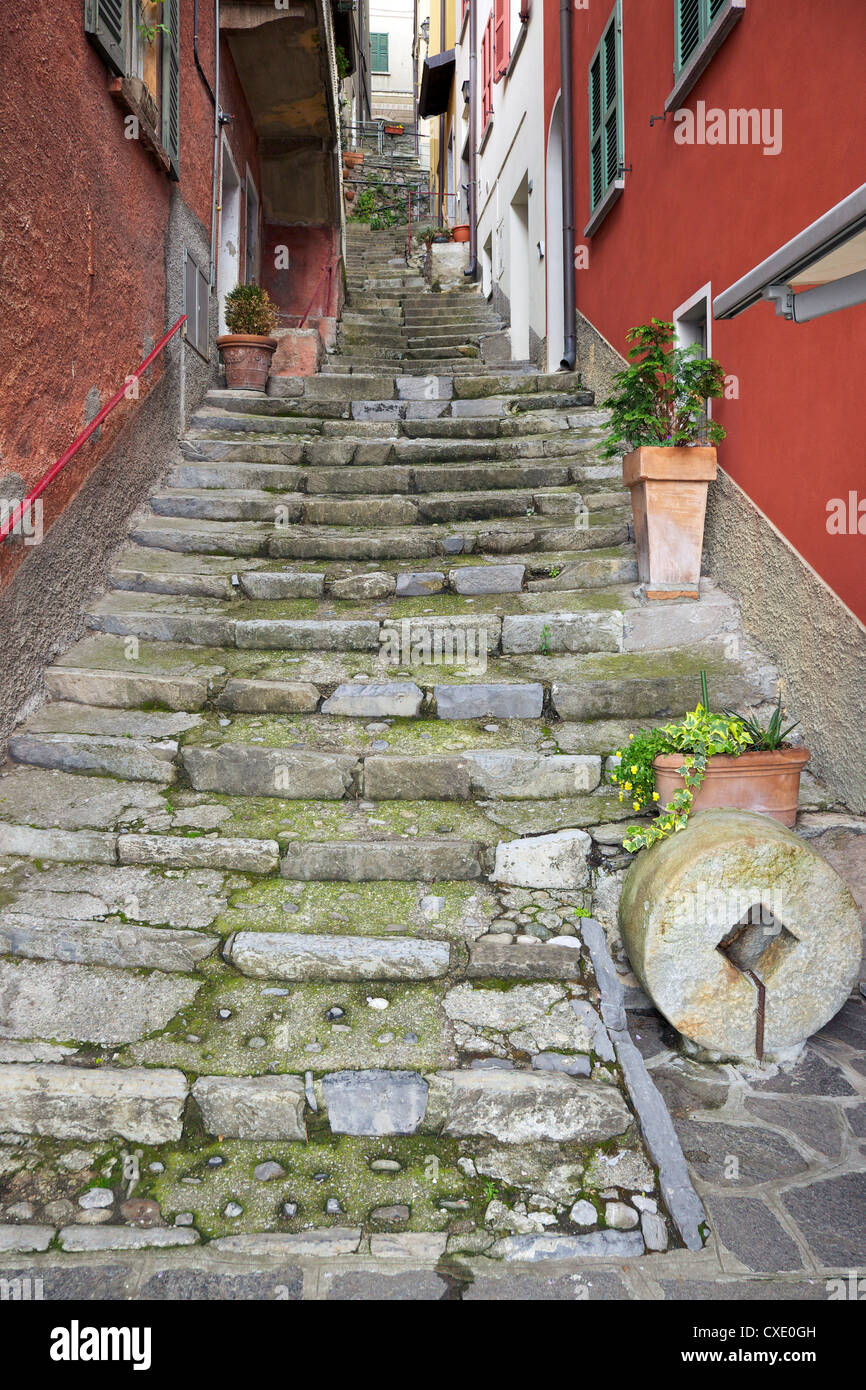 Medieval cobbled back streets of Varenna, Lake Como, Lombardy, Italy, Europe - Stock Image