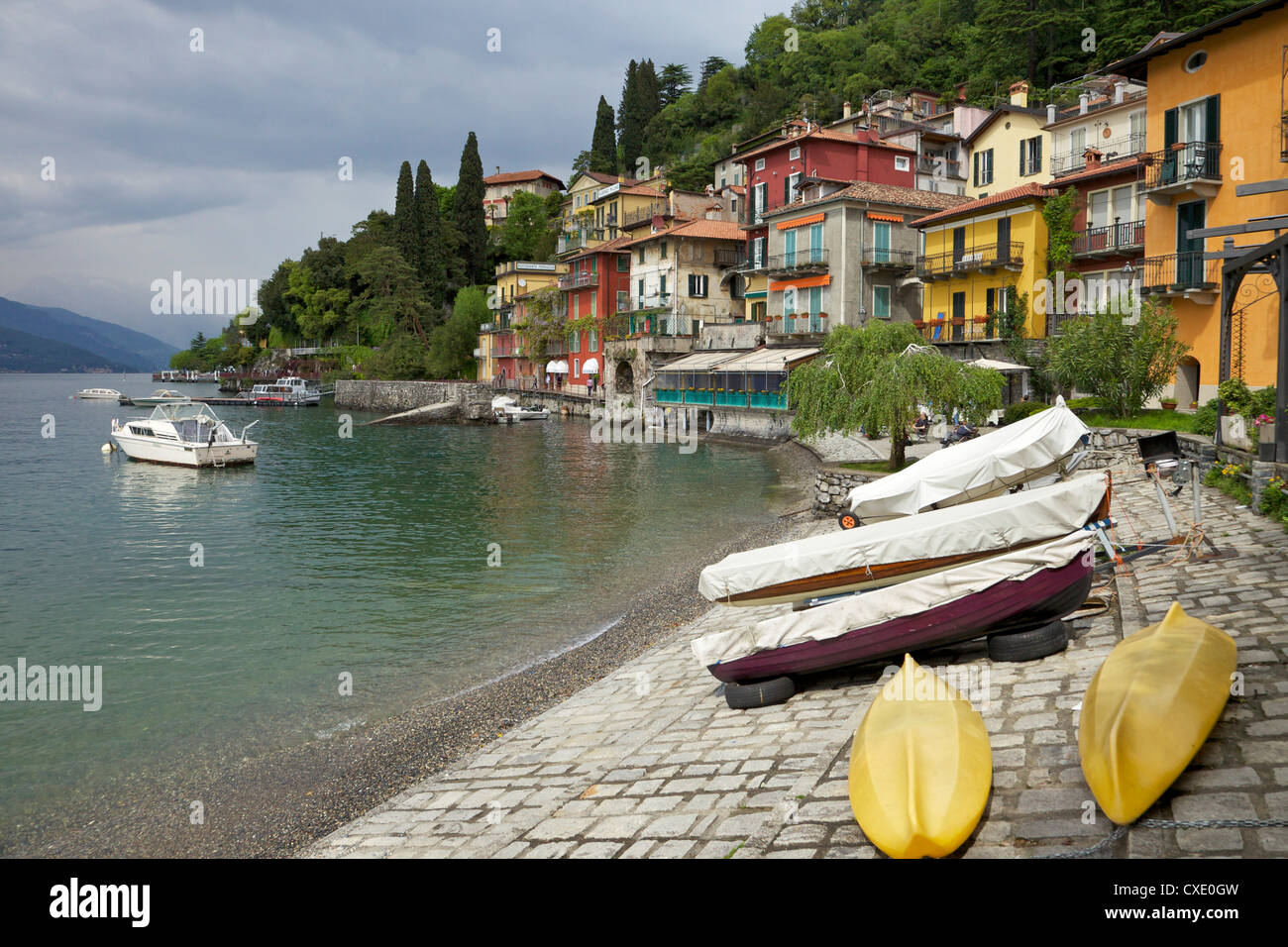 Lakeside view of the medieval village of Varenna, Lake Como, Lombardy, Italian Lakes, Italy, Europe - Stock Image