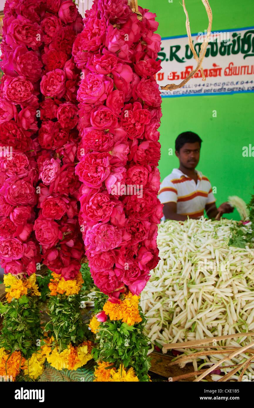 Flower market, Madurai, Tamil Nadu, India, Asia - Stock Image