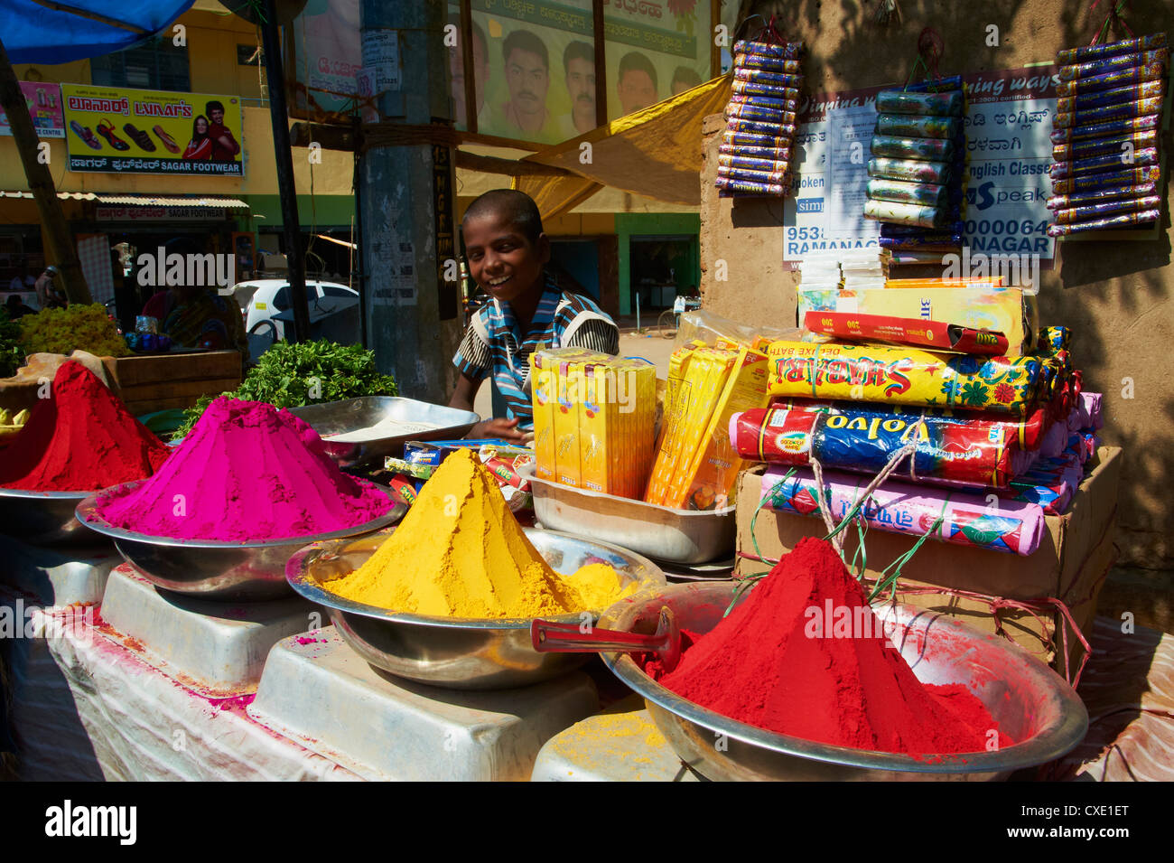 Coloured powders for sale, Channapatna village, Mysore, Karnataka, India, Asia - Stock Image