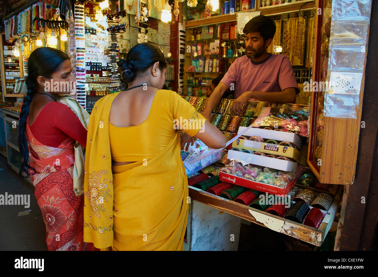 Bracelets and bangles for sale, Devaraja market, Mysore, Karnataka, India, Asia - Stock Image
