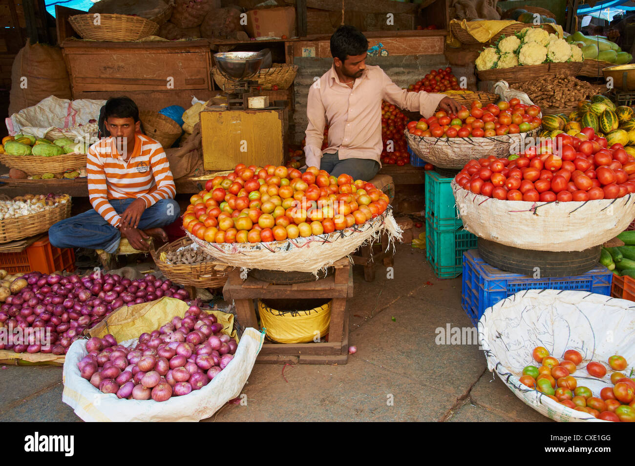 Vegetables for sale, Devaraja market, Mysore, Karnataka, India, Asia - Stock Image
