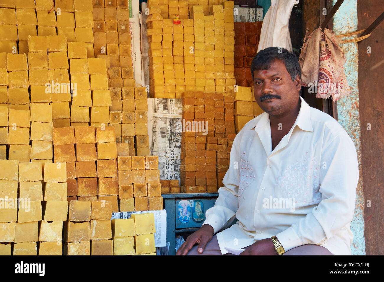 Sugar for sale, Devaraja market, Mysore, Karnataka, India, Asia - Stock Image
