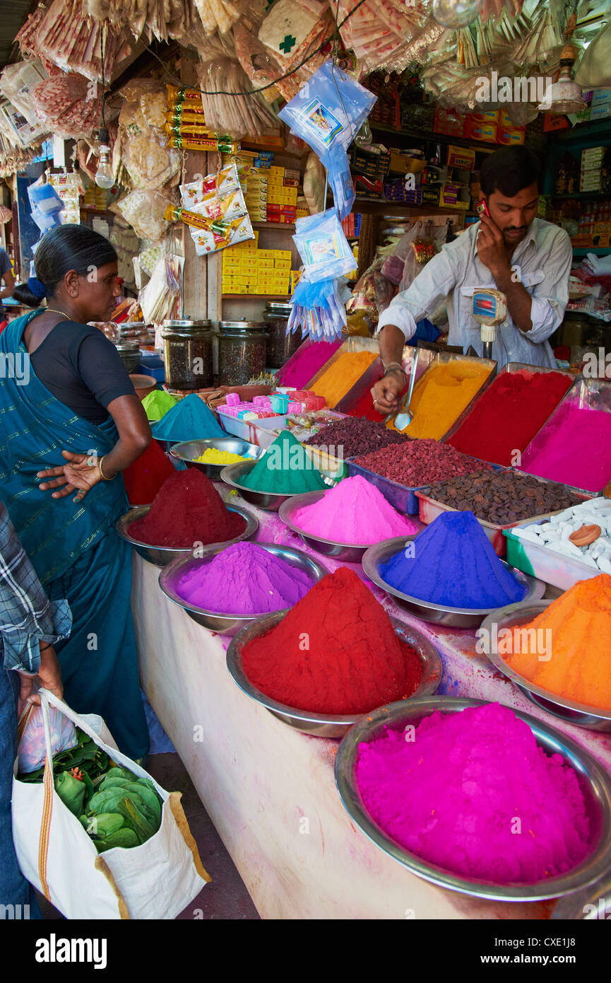 Coloured powders for sale, Devaraja market, Mysore, Karnataka, India, Asia - Stock Image