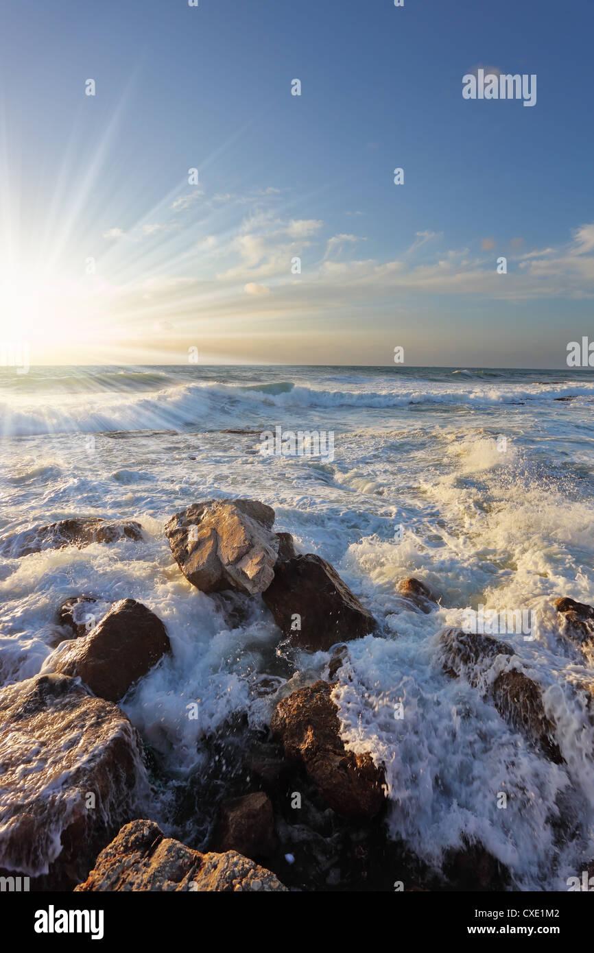 Gorgeous sunset on the Mediterranean - Stock Image