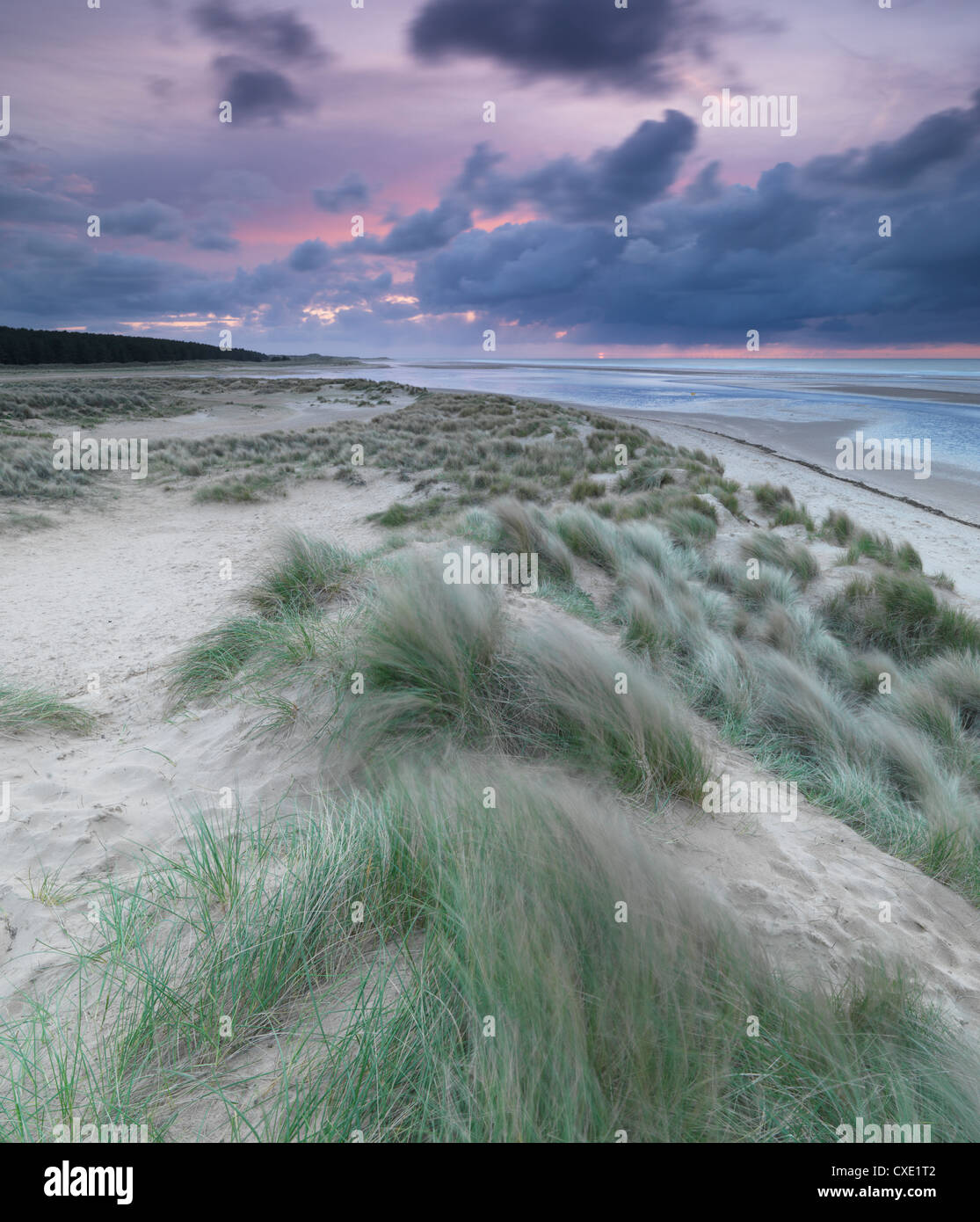A moody spring evening at Holkham Bay, Norfolk - Stock Image