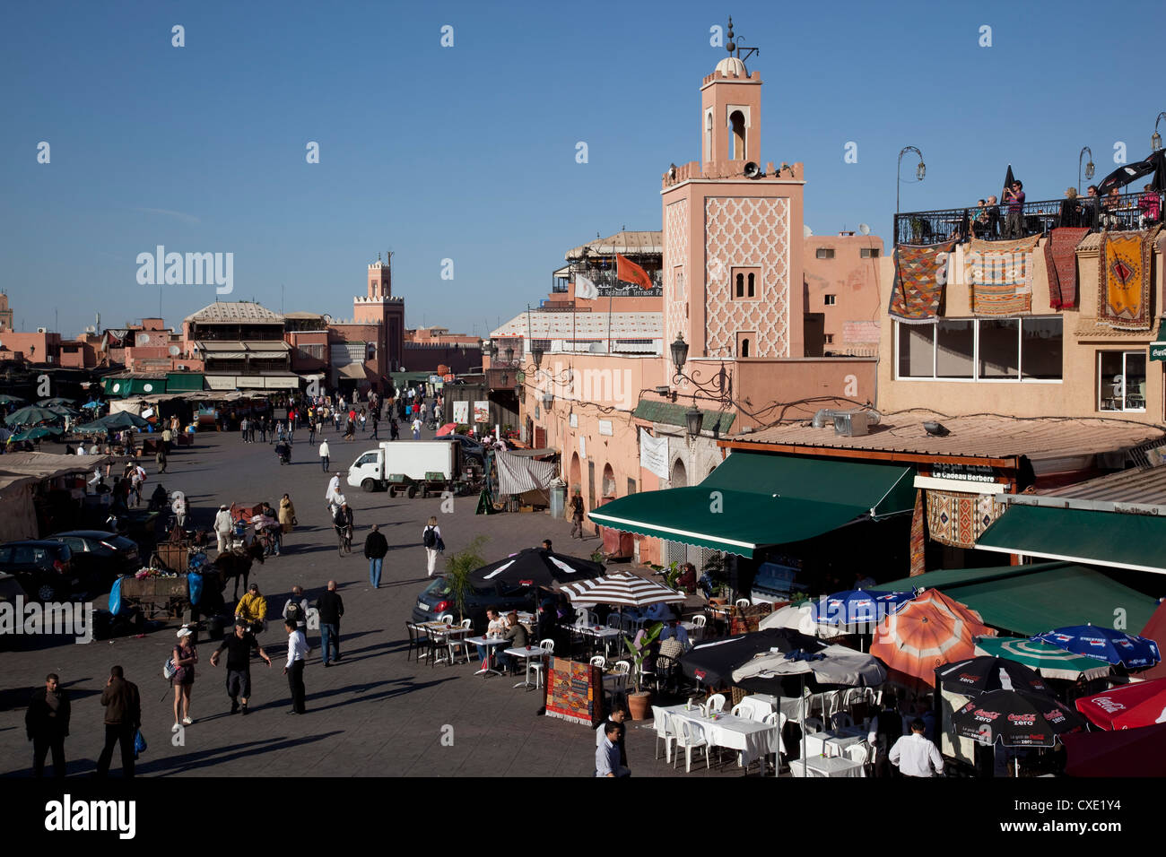 View over market, Place Jemaa El Fna, Marrakesh, Morocco, North Africa, Africa Stock Photo