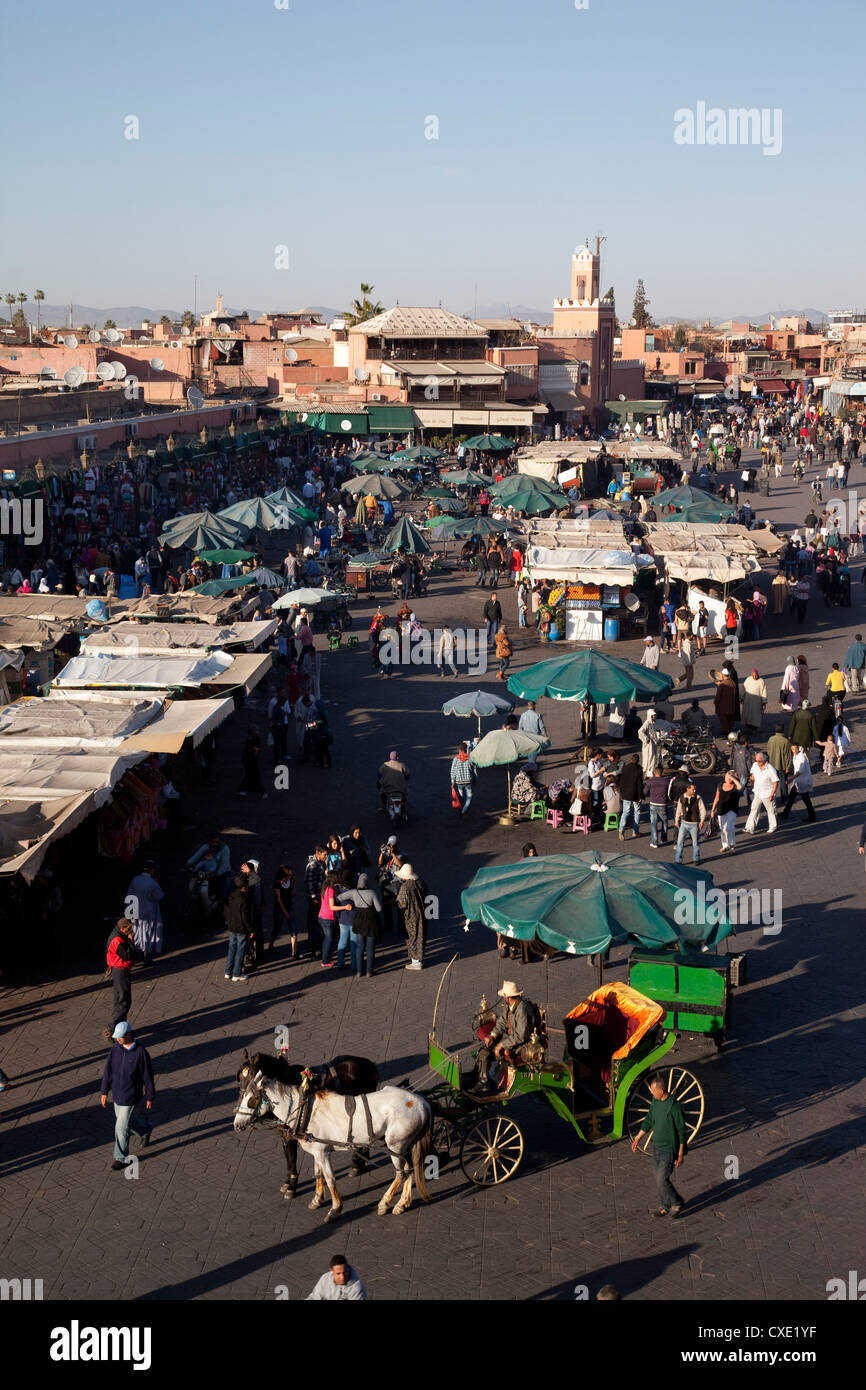 View over market, Place Jemaa El Fna, Marrakesh, Morocco, North Africa, Africa - Stock Image