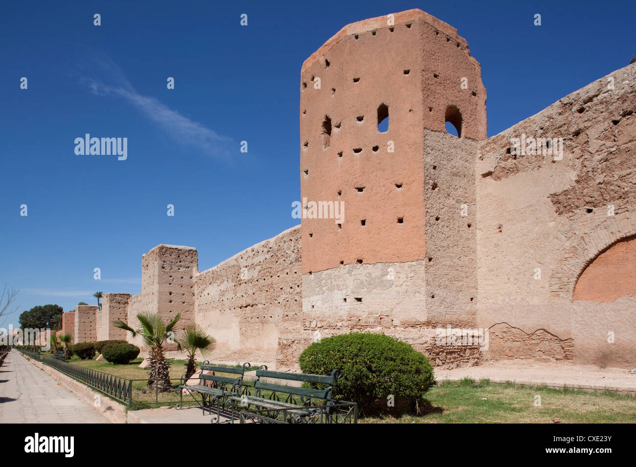 Walls of the Old and Medina, Marrakesh, Morocco, North Africa, Africa - Stock Image