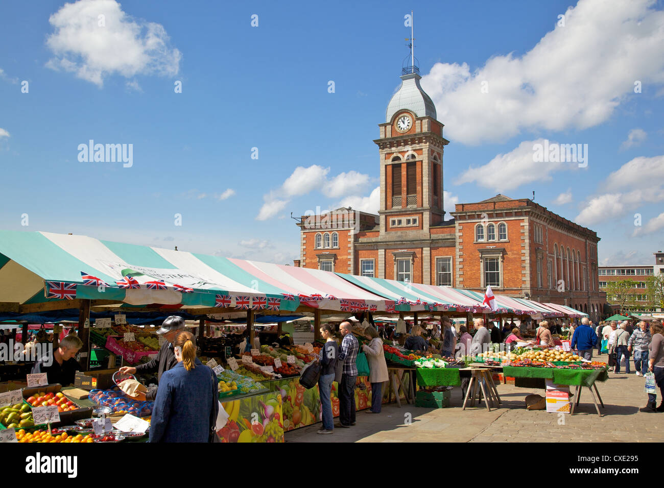 Market Hall and market stalls, Chesterfield, Derbyshire, England, United Kingdom, Europe - Stock Image