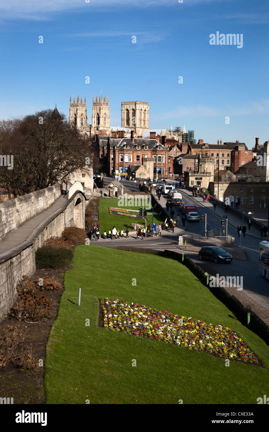 York Minster from the City Walls, York, Yorkshire, England - Stock Image