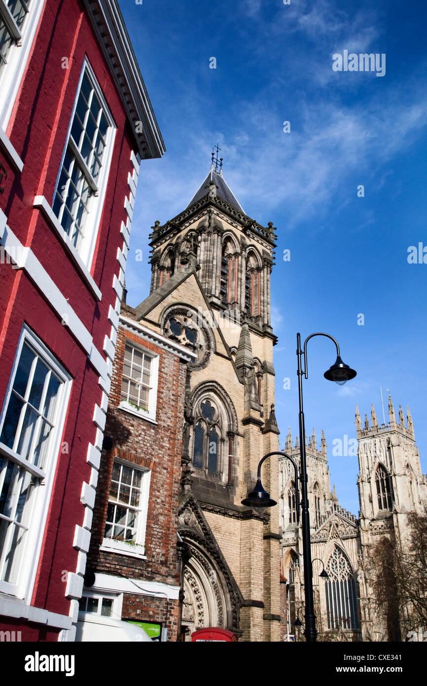 St Wilfrids Catholic Church and York Minster, York, Yorkshire, England - Stock Image