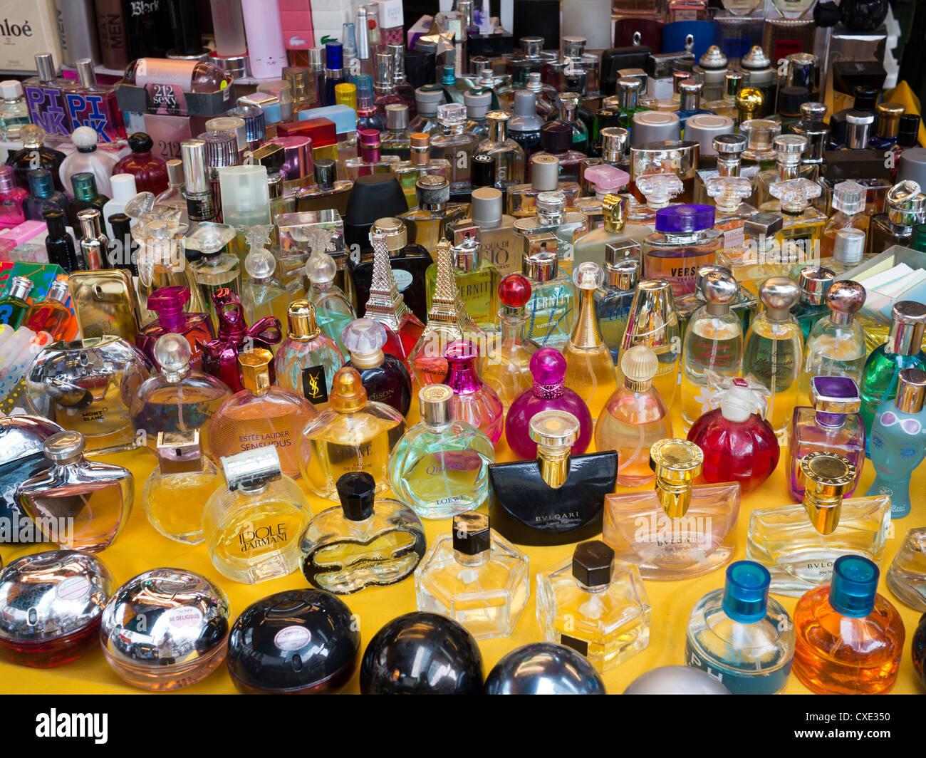Fake perfume for sale at street market, Hong Kong, China - Stock Image