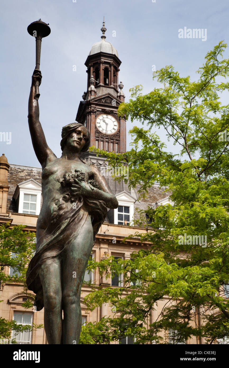Morn Statue in City Square, Leeds, West Yorkshire, Yorkshire, England, United Kingdom, Europe Stock Photo