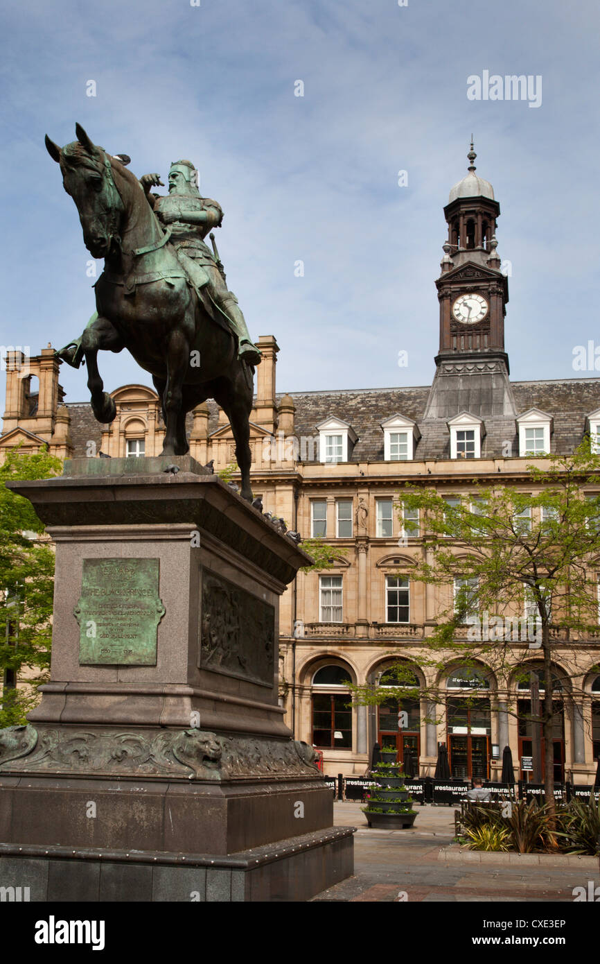 The Black Prince Statue in City Square, Leeds, West Yorkshire, Yorkshire, England, United Kingdom, Europe Stock Photo
