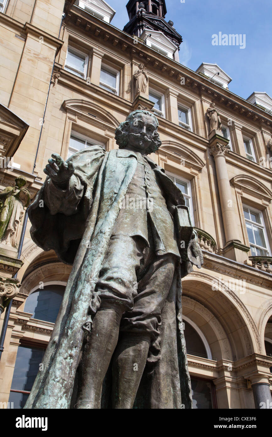 John Harrison statue in City Square, Leeds, West Yorkshire, Yorkshire, England, United Kingdom, Europe Stock Photo