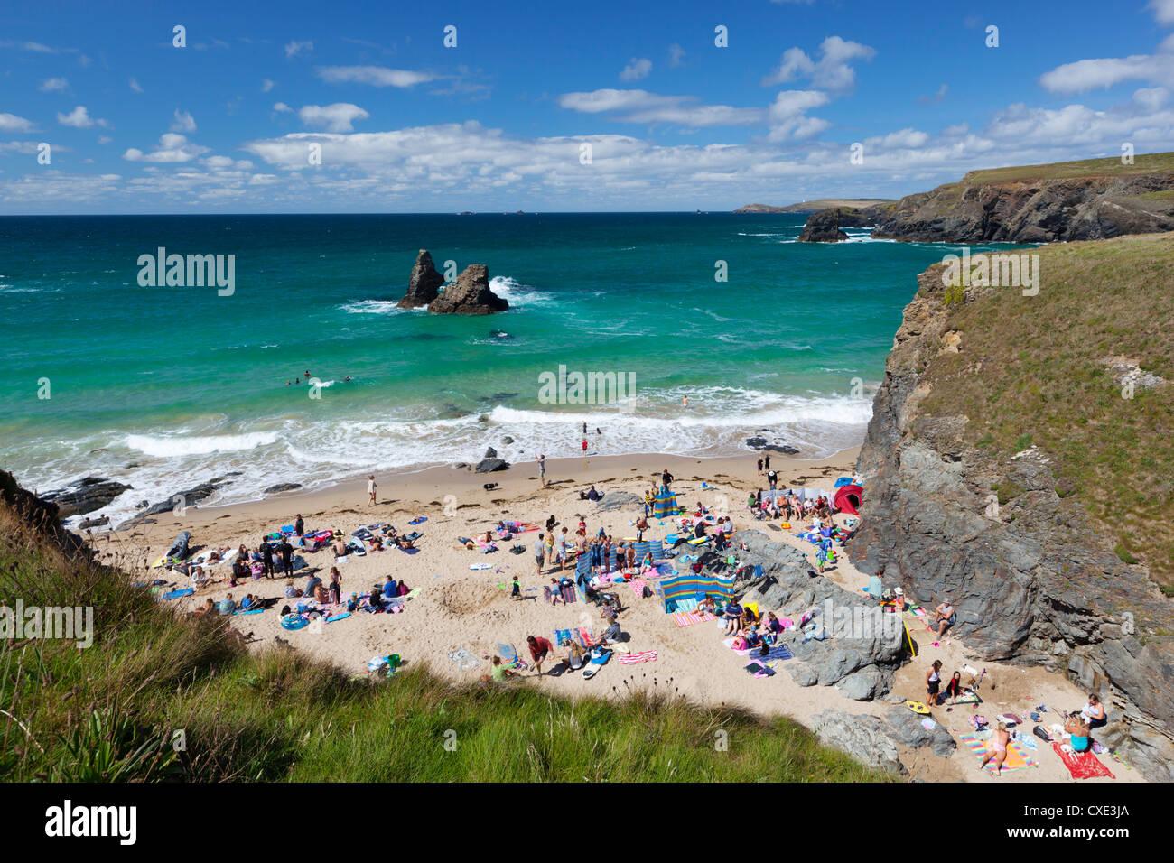 Small beach on North Cornwall coast, Porthcothan, near Newquay, Cornwall, England - Stock Image