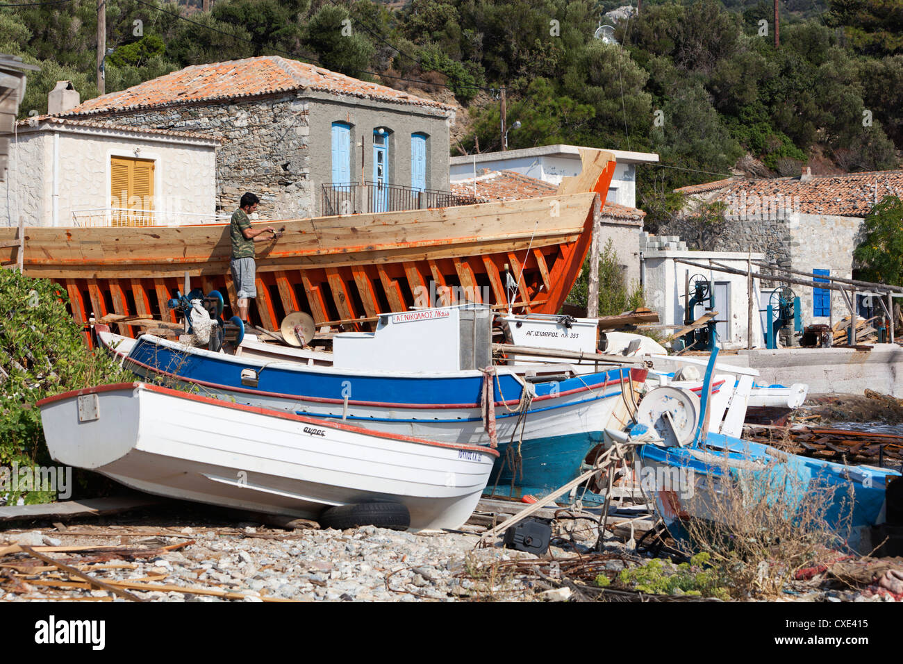 Traditional boat building yard, Aghios Isidhoros, Samos, Aegean Islands, Greece - Stock Image