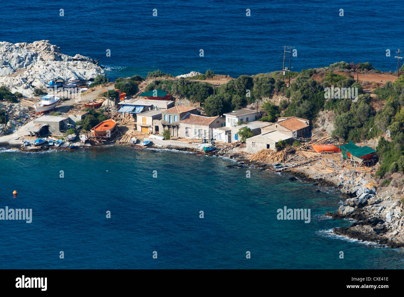 Traditional boat building yard, Aghios Isidhoros, Samos, Aegean Islands - Stock Image