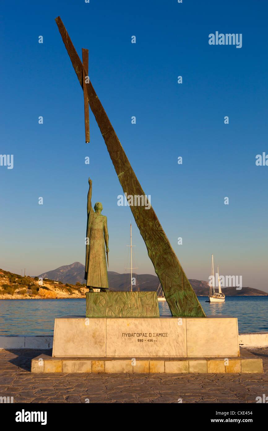 Statue of Pythagoras (Greek philosopher and mathematician), Pythagorion, Samos, Aegean Islands, Greece Stock Photo