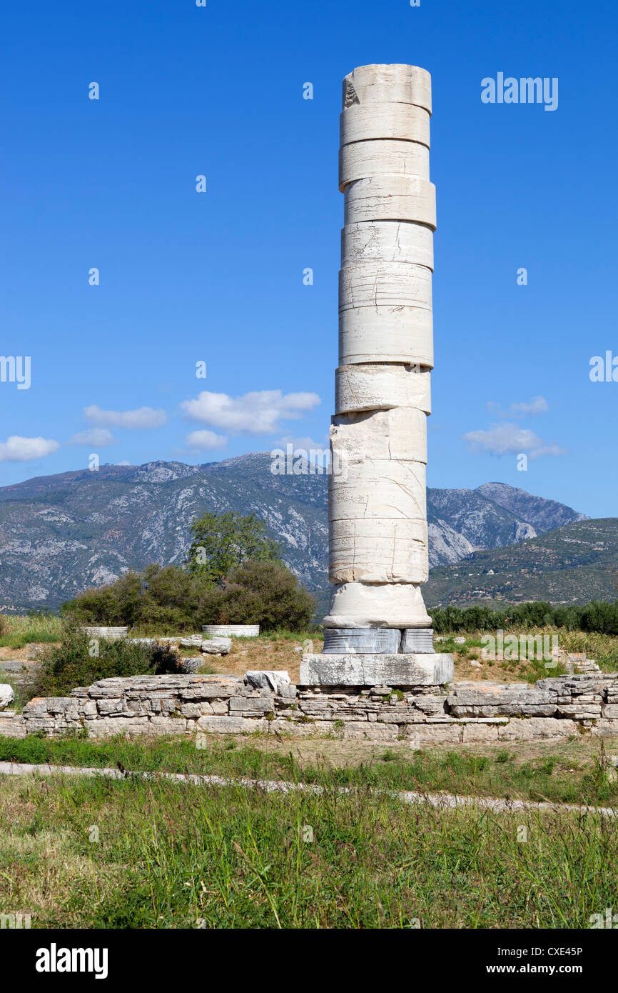 Ireon archaeological site with column of the Temple of Hera, Ireon, Samos, Aegean Islands, Greece - Stock Image