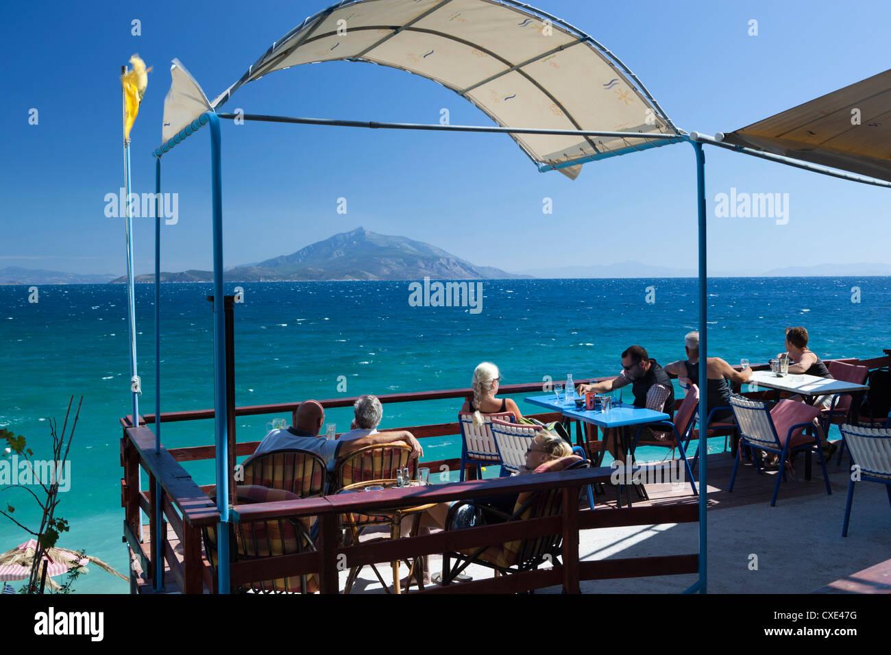 Cafe by sea, Pappa Beach, Ireon, Samos, Aegean Islands, Greece - Stock Image