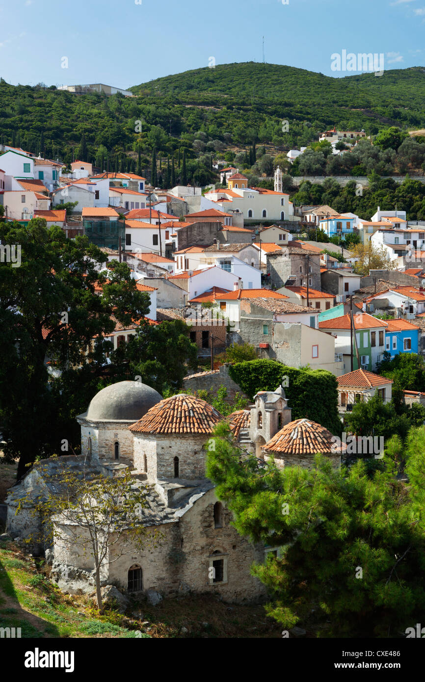 View over Vathy old town, Samos Town, Samos, Aegean Islands, Greece - Stock Image