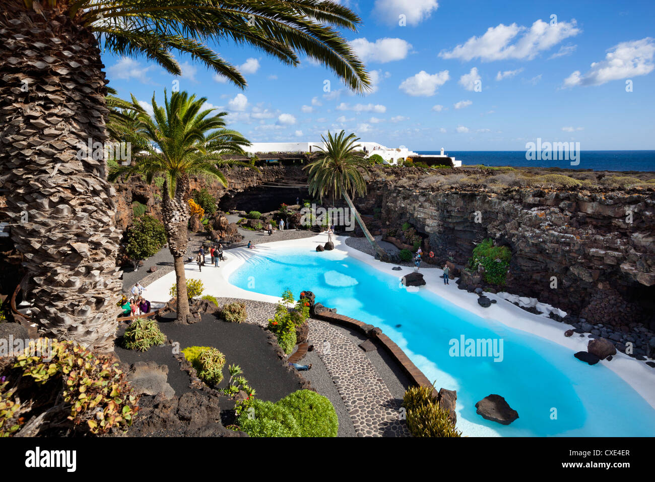 Blue and white pool, Jameos del Agua, near Arrieta, Lanzarote, Canary Islands, Spain - Stock Image