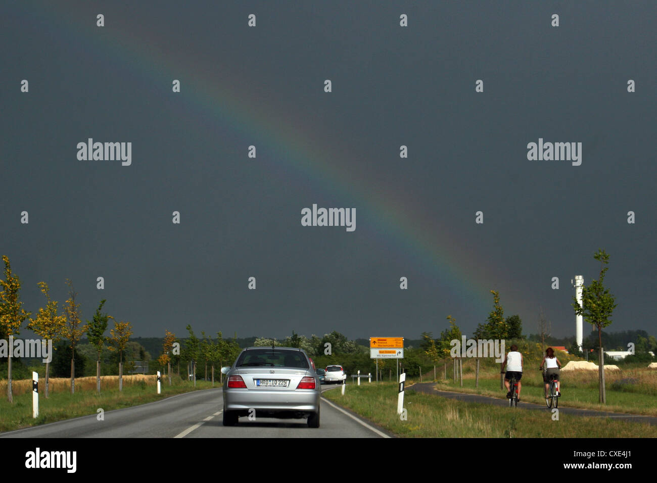 Bad Doberan, rainbow over the highway 105 - Stock Image