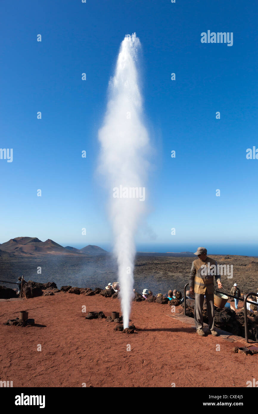 Water turning to steam by subterranean heat, Islote de Hilario, Timanfaya National Park, Lanzarote, Canary Islands, - Stock Image
