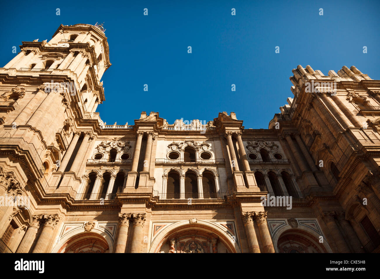Malaga Cathedral low angle view, Malaga, Andalusia, Spain, Europe. - Stock Image