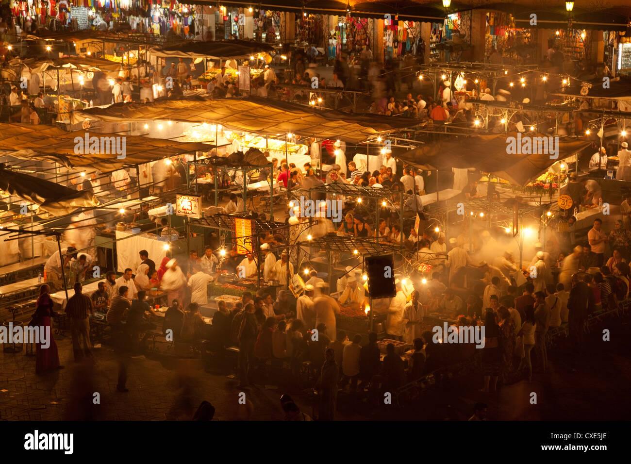 Food market in Djemaa el-Fna, Marrakech, Morocco, North Africa, Africa Stock Photo