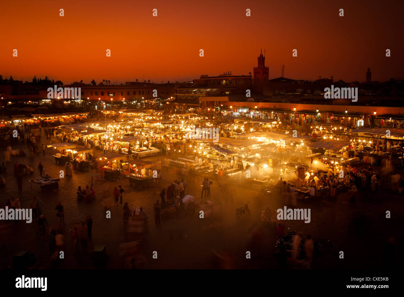 View at sunset across Djemaa El Fna, Marrakech, Morocco, North Africa, Africa Stock Photo