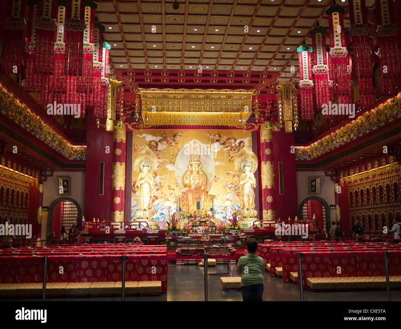 Interior of Buddha tooth relic Temple, Singapore, Asia - Stock Image