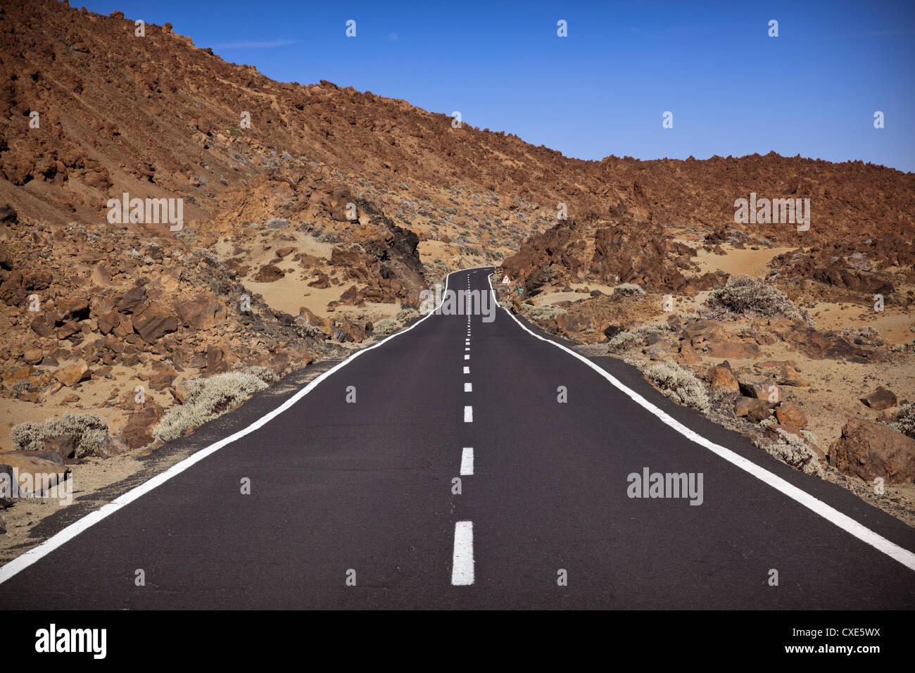 Road in El Teide National Park, UNESCO World Heritage Site, Tenerife, Canary Islands, Spain, Europe - Stock Image