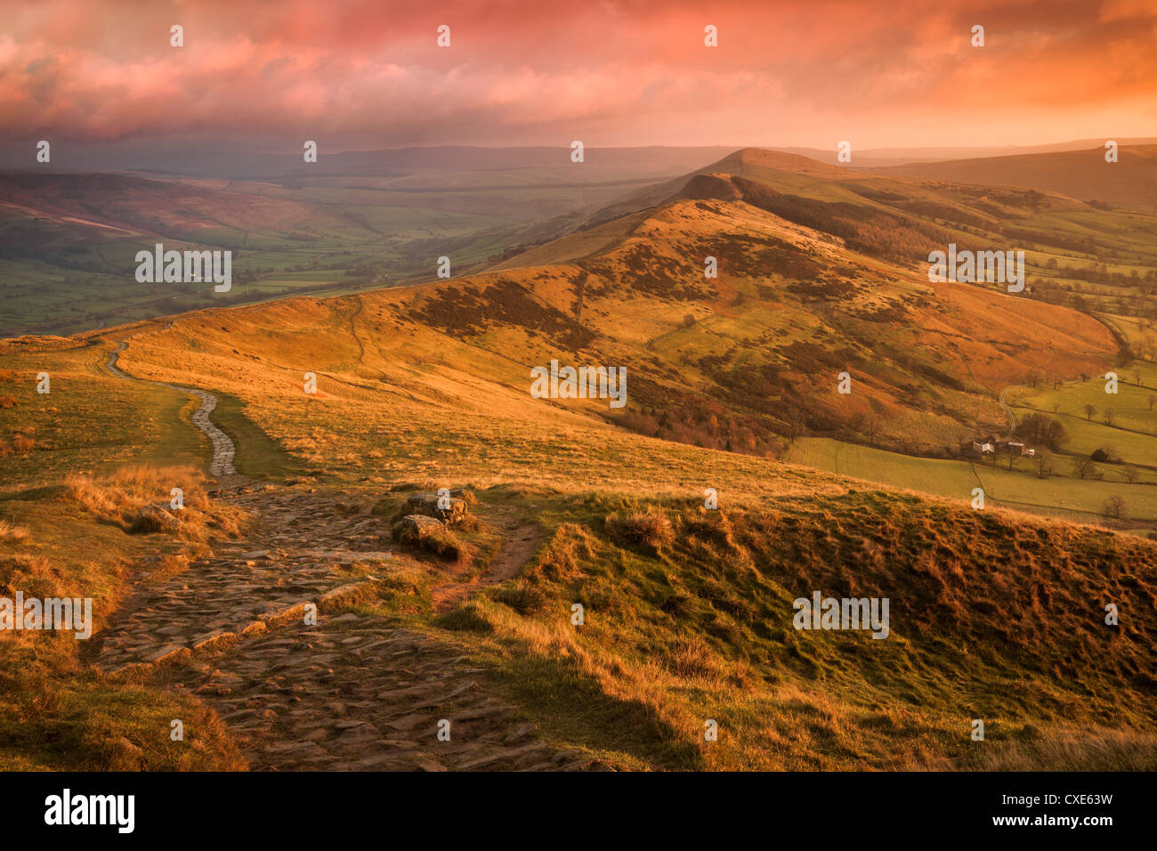 Sunrise light on The Great Ridge, Hope Valley, Peak District National Park, Derbyshire, England, United Kingdom, Stock Photo