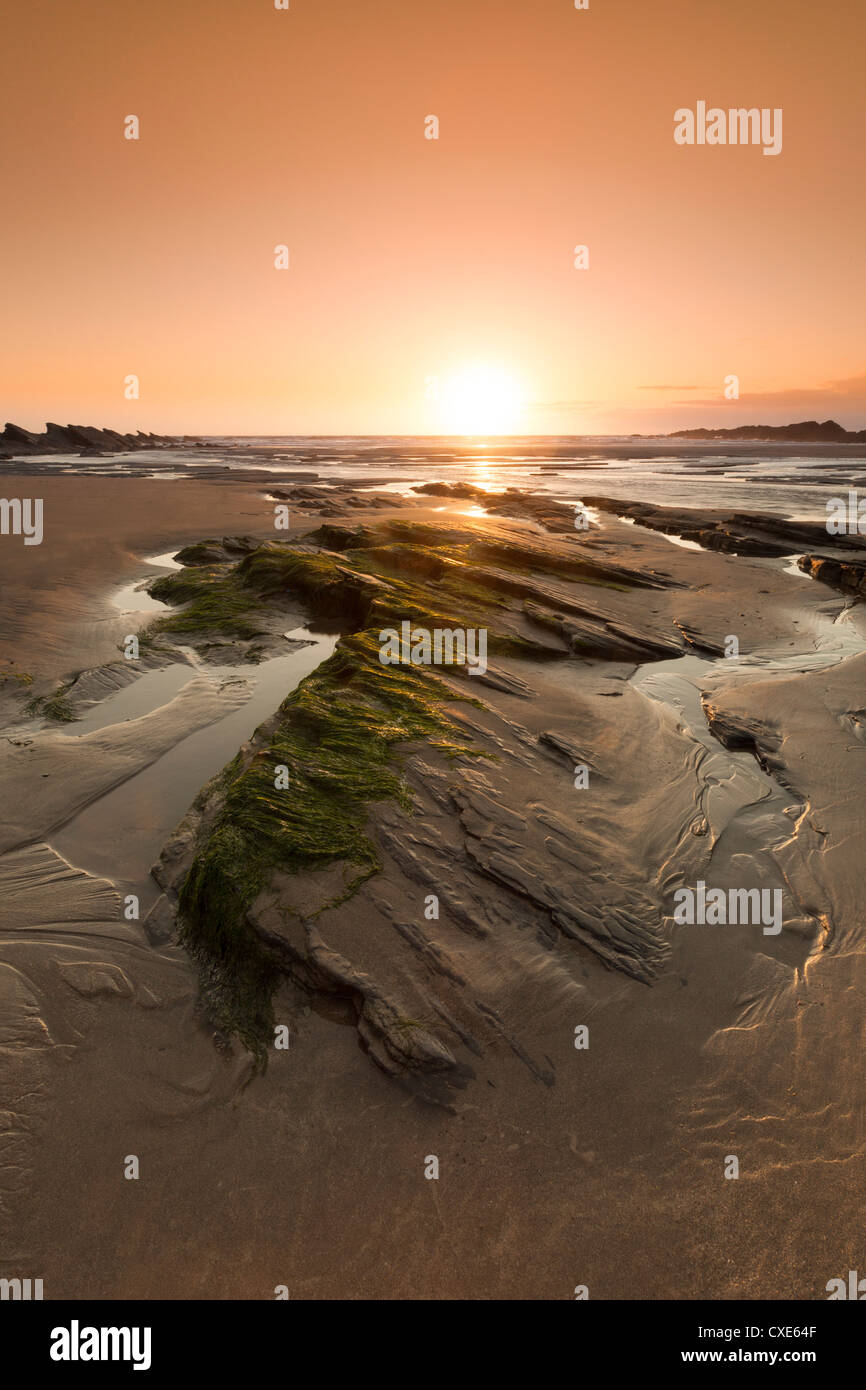 Seaside rocks on Crackington Haven Beach at sunset, Cornwall, England, United Kingdom, Europe - Stock Image