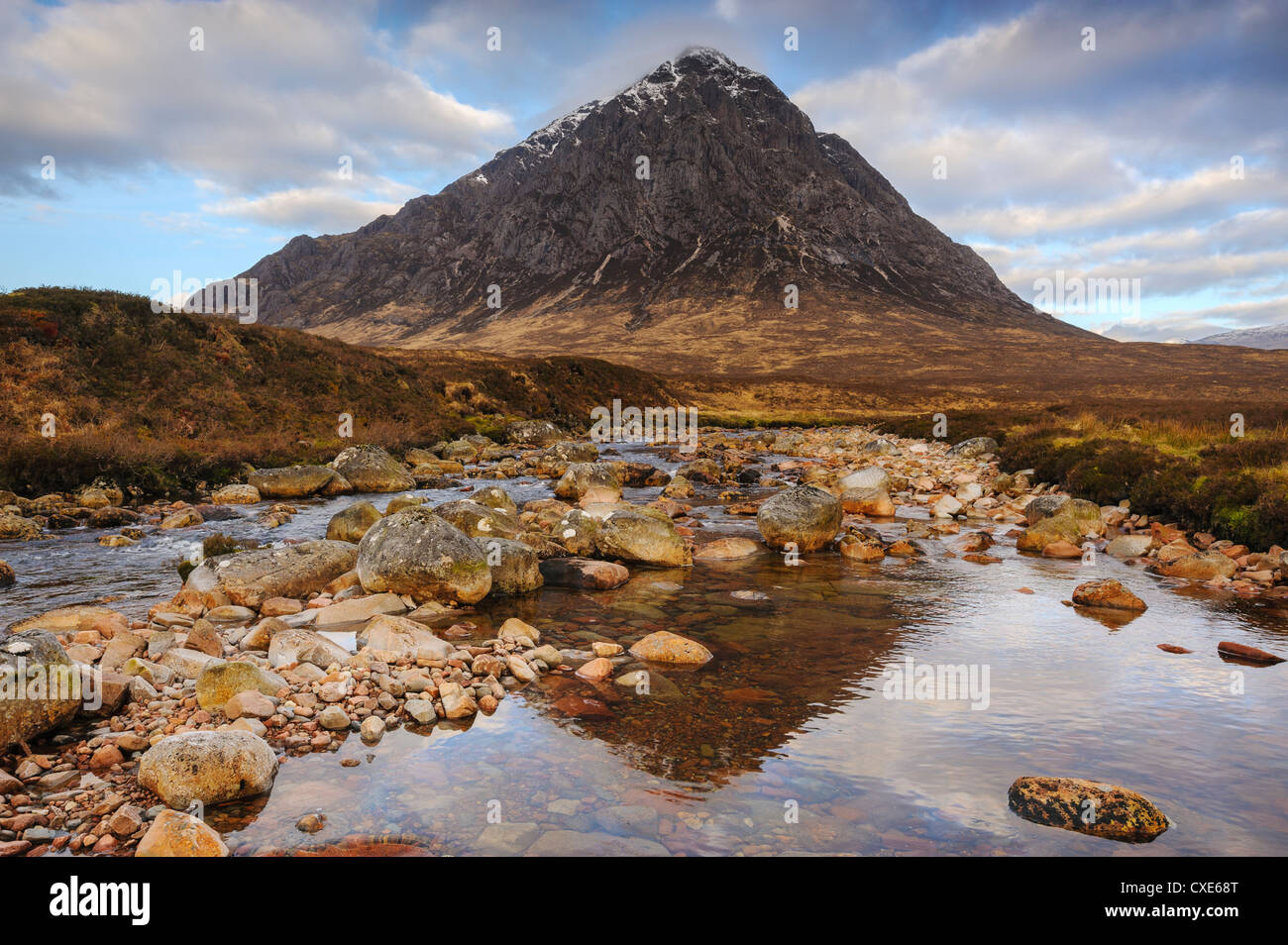 Buachaille Etive Mor and the River Coupall, Glen Etive, Rannoch Moor, Western Highlands, Scotland - Stock Image