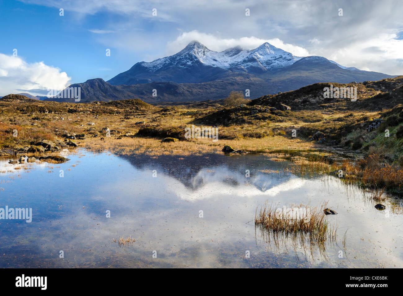 View of the Black Cuillin mountain Sgurr nan Gillean, Glen Sligachan, Isle of Skye, Scotland, United Kingdom, Europe - Stock Image