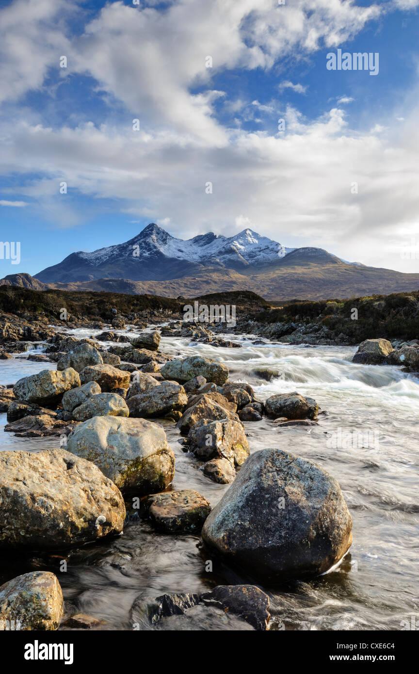 View of the Black Cuillin mountain Sgurr nan Gillean, Glen Sligachan, Isle of Skye, Scotland - Stock Image