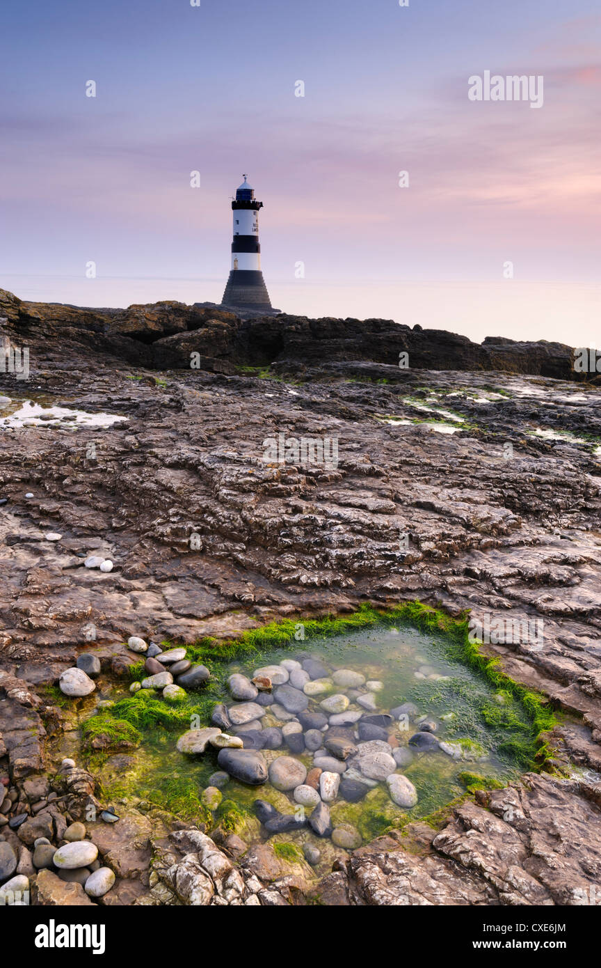 Dawn at Penmon Lighthouse, Penmon Point, Anglesey, North Wales, Wales, United Kingdom, Europe - Stock Image