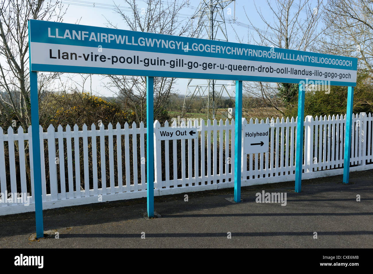 Station sign at Llanfairpwllgwyngyllgogerychwyrndrobwllllantysiliogogogoch, Llanfair PG, Anglesey, North Wales, - Stock Image