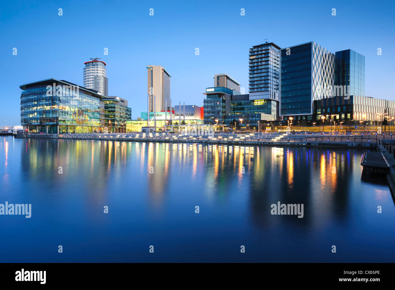 Dawn at MediaCity UK home of the BBC, Salford Quays, Manchester, Greater Manchester, England, United Kingdom, Europe - Stock Image