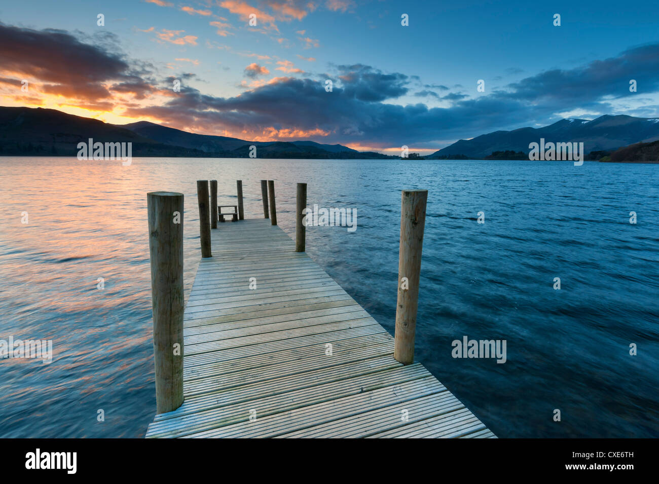 Sunset at Ashness jetty towards Skiddaw, Barrow Bay, Derwent Water, Keswick, Lake District National Park, Cumbria, - Stock Image