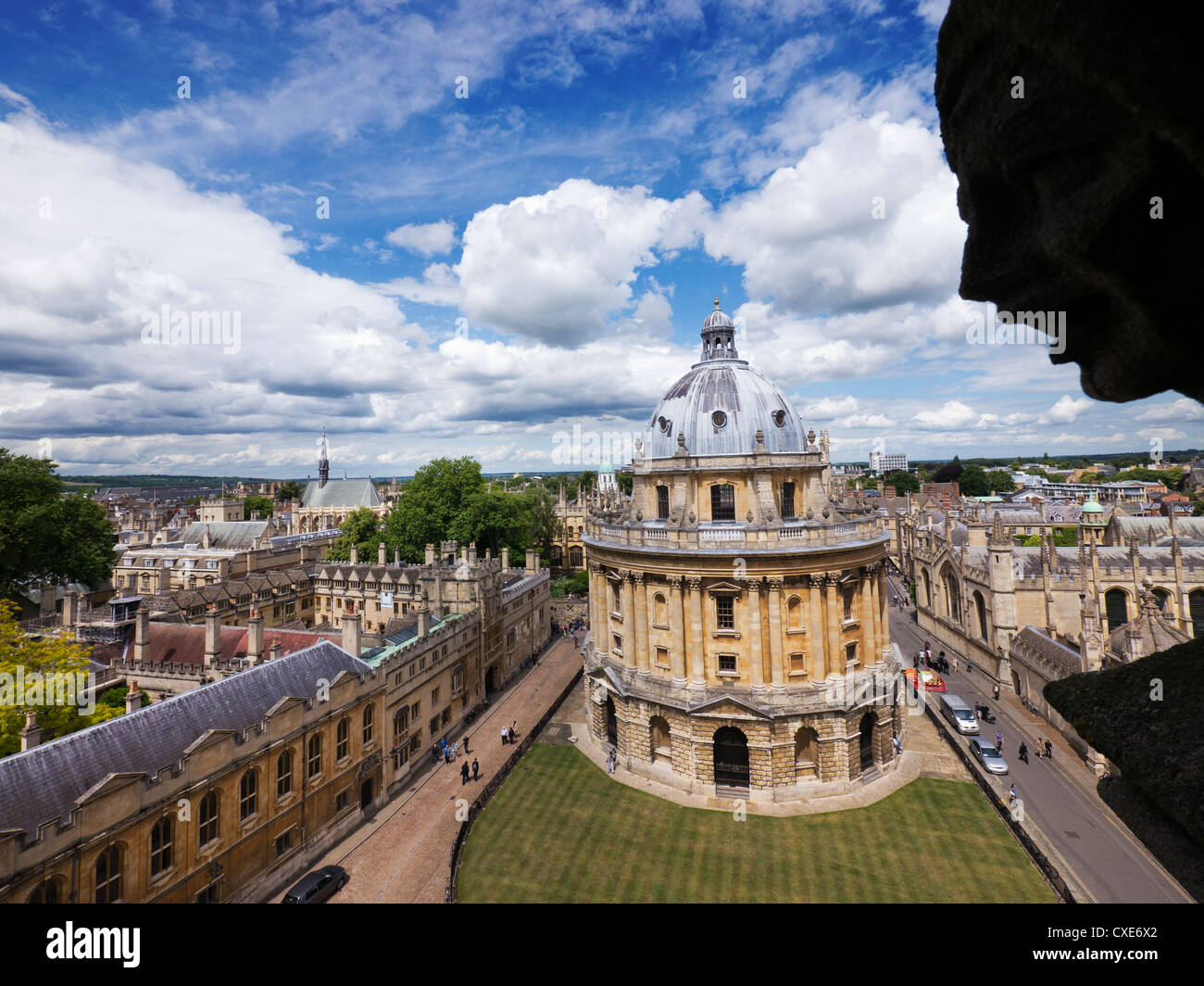 Elevated view of Radcliffe Camera, Oxford, Oxfordshire, England, UK - Stock Image