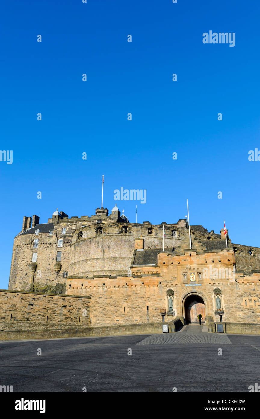 Entrance to Edinburgh Castle under clear blue sky, Edinburgh, Lothian, Scotland - Stock Image