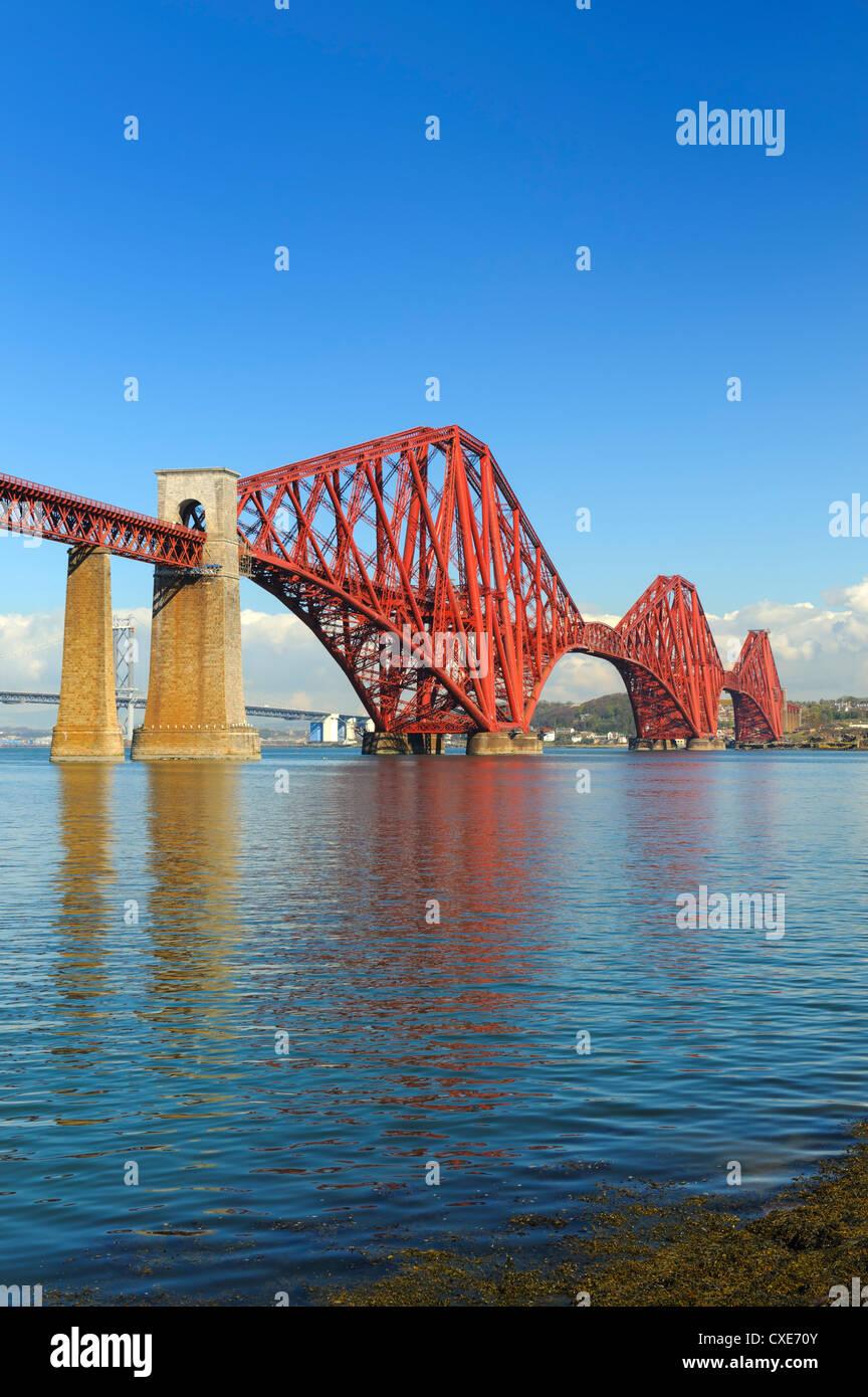 Forth Rail Bridge over the Firth of Forth, South Queensferry near Edinburgh, Lothian, Scotland - Stock Image