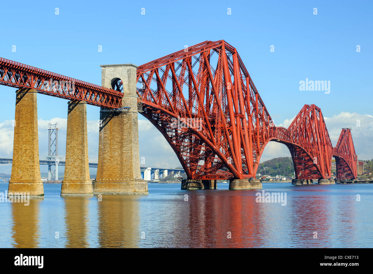 Forth Rail Bridge over the Firth of Forth, South Queensferry near Edinburgh, Lothian, Scotland - Stock Image