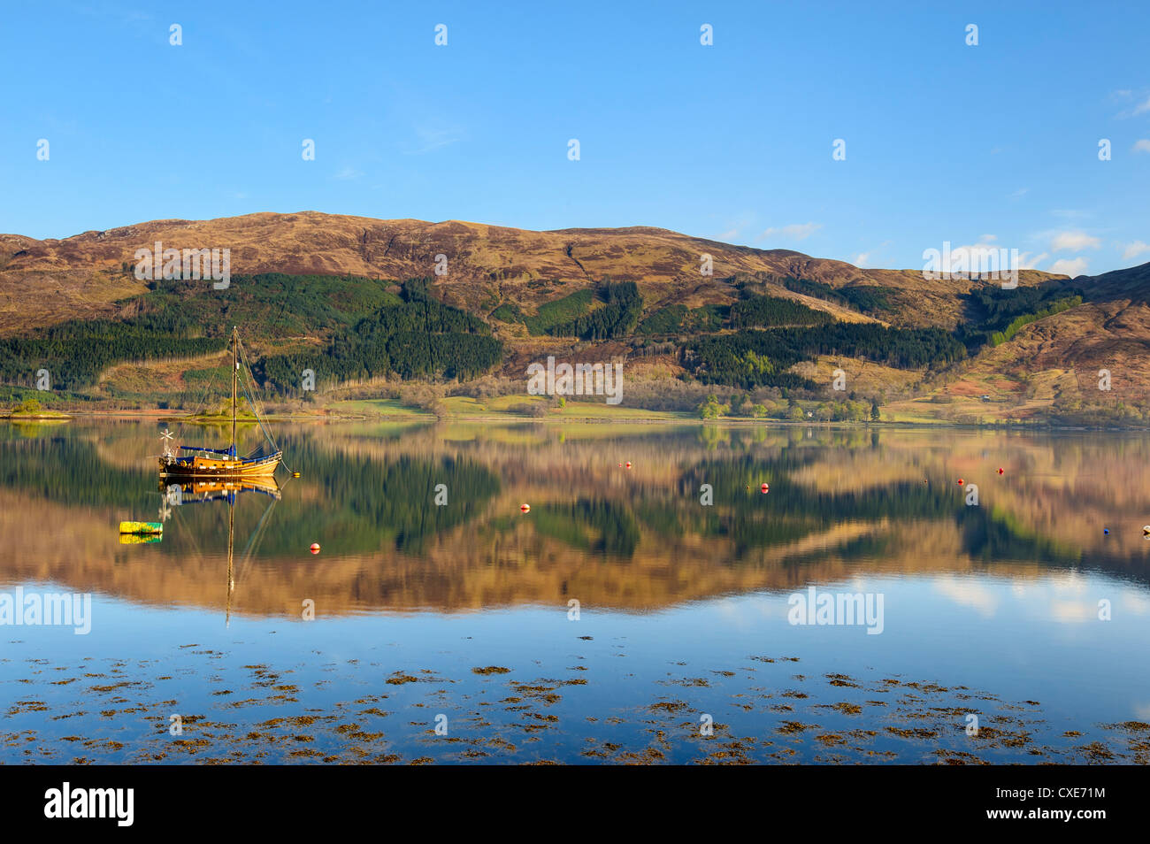 Loch Leven reflections, Glencoe village, Highlands, Scotland, United Kingdom, Europe - Stock Image